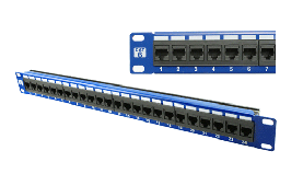 Carson Telecom Cat5E 24 Port Color Patch Panel - BLUE